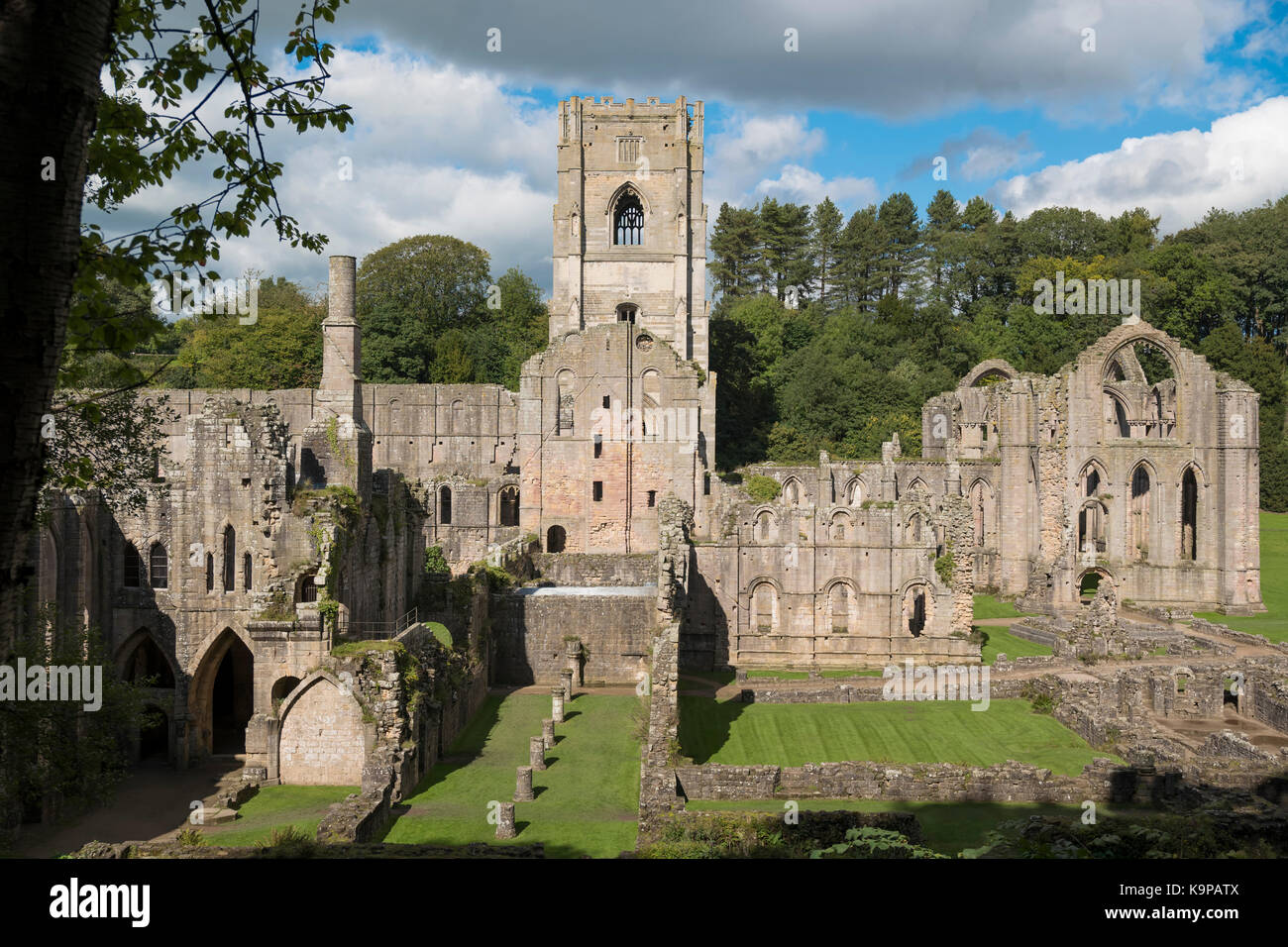 Fountains Abbey, nello Yorkshire, Regno Unito. Immagini Stock