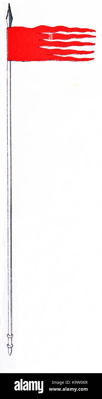 """Questa illustrazione, che risale al 1882, mostra un orifiamma (francese per """"golden fiamma') che è Immagini Stock"""