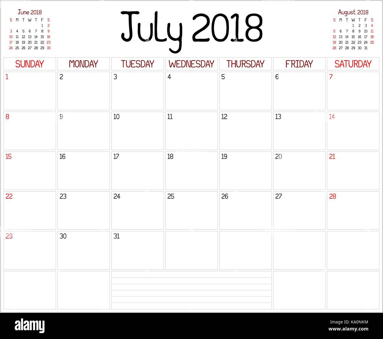 Calendario Di Luglio.Anno 2018 Luglio Planner Un Pianificatore Mensile