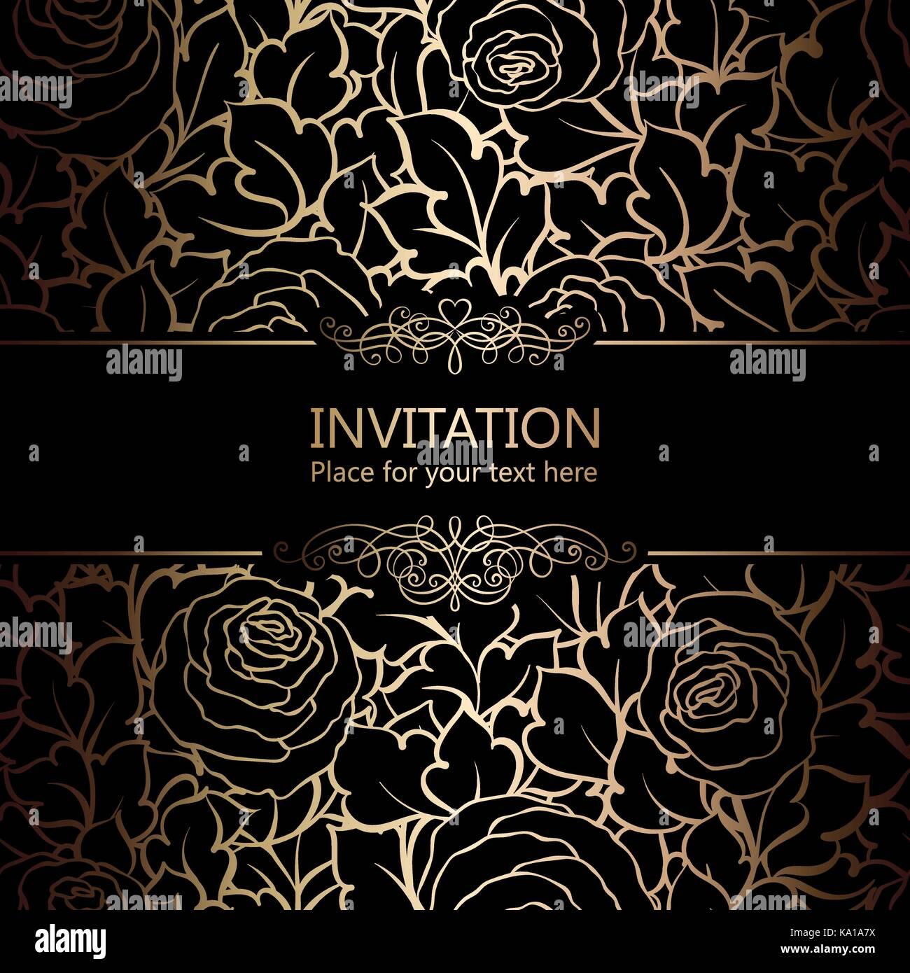 Sfondo astratto con rose lusso nero e oro telaio vintage for Carta da parati oro