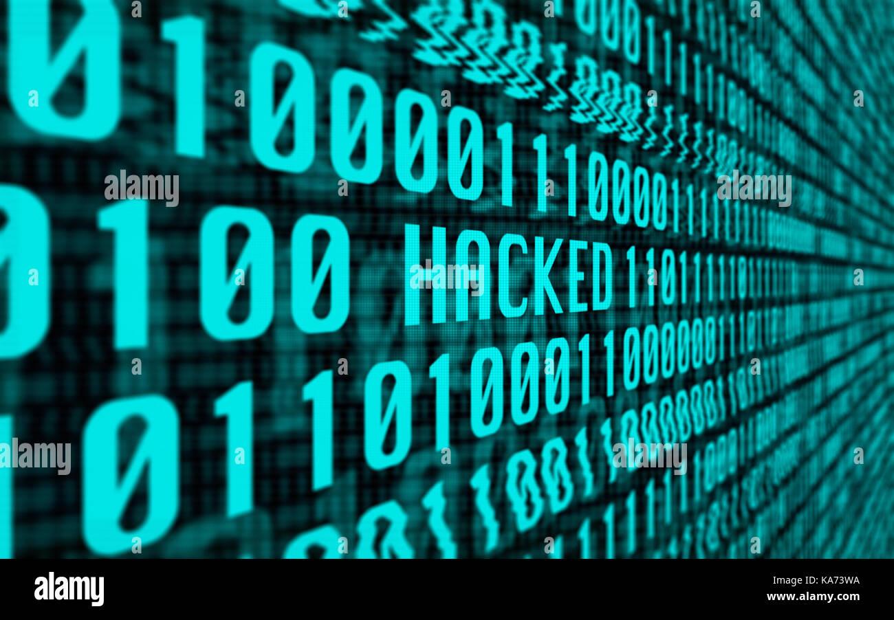 Concetto con uno schermo pieno di binari di dati computer glitching nella parola 'violato' Immagini Stock