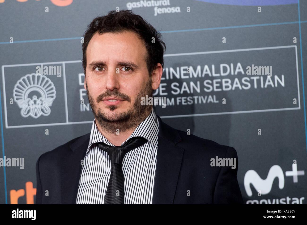 """San sebastian, Spagna. Xxv Sep, 2017. Il regista diego lerman presso il tappeto rosso di """"n.a. especie de familia' Immagini Stock"""