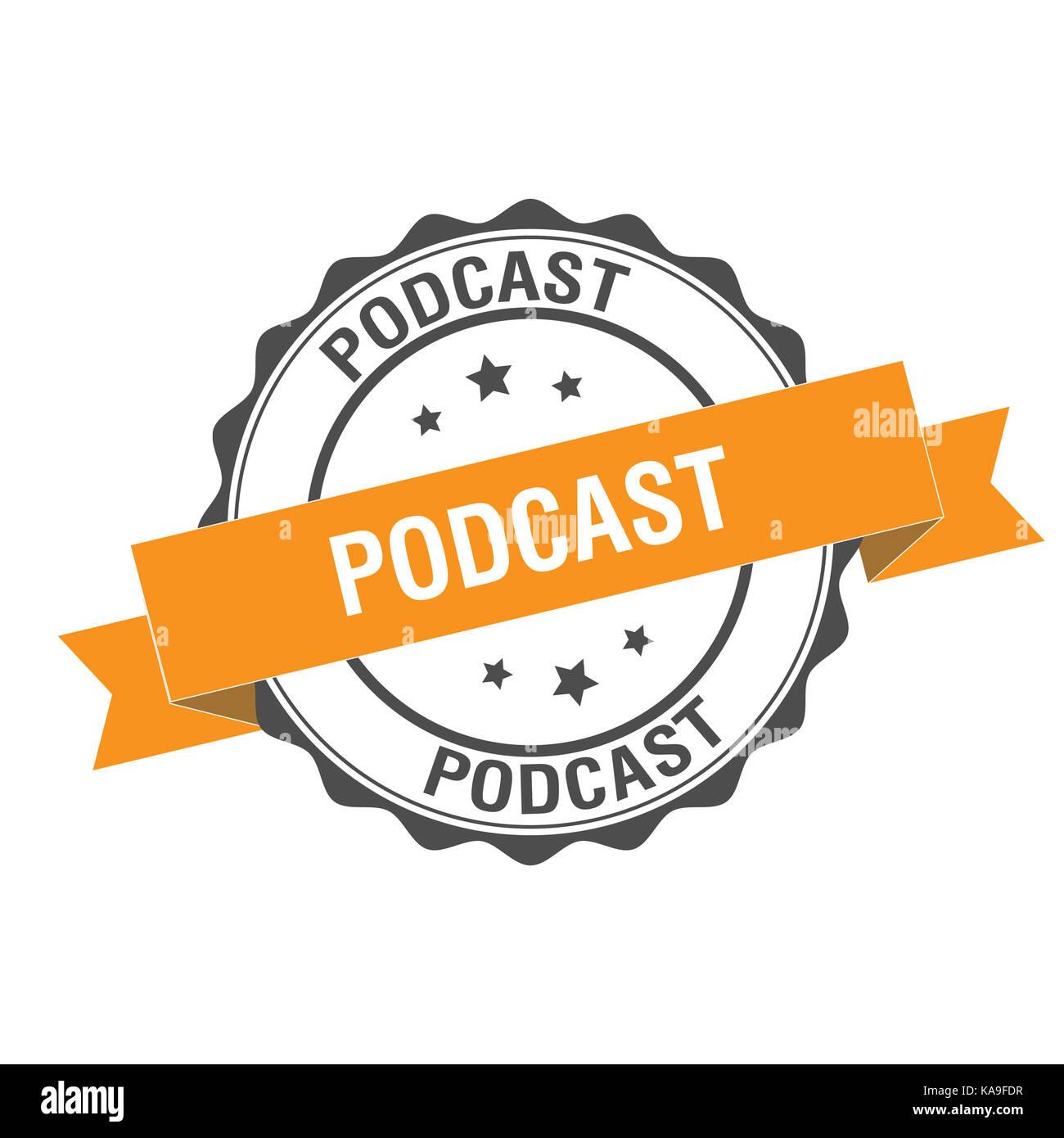 Podcast illustrazione del timbro Immagini Stock