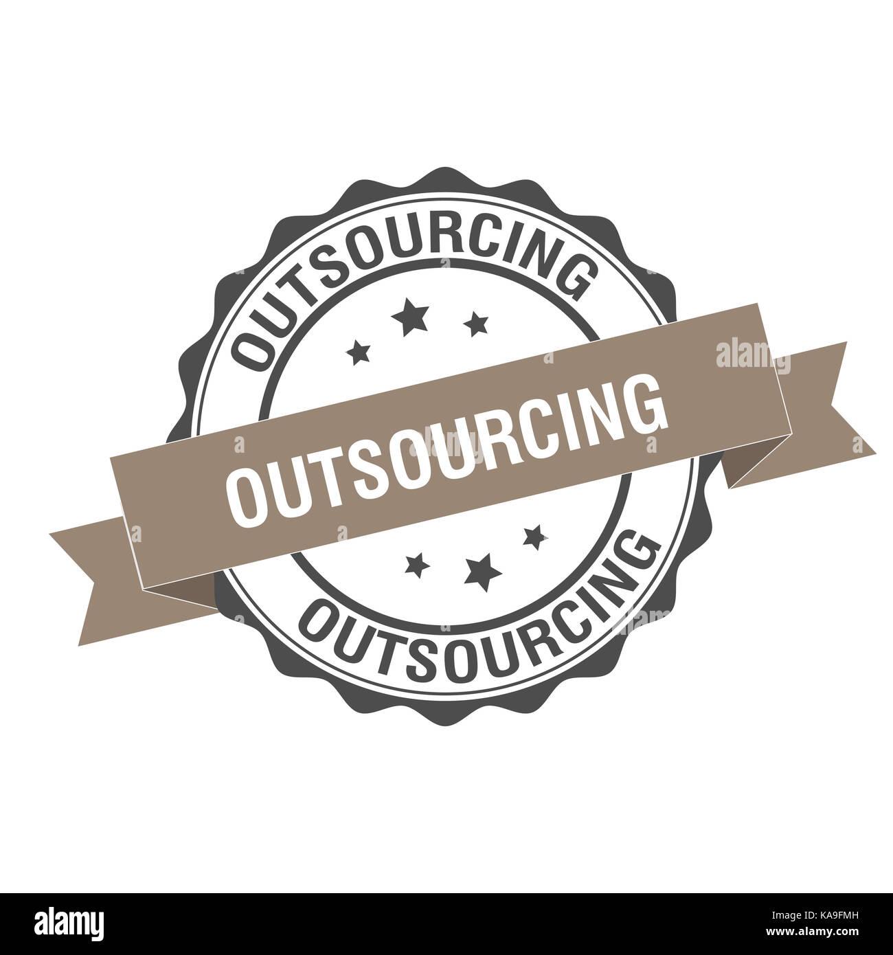 Timbro di outsourcing illustrazione Immagini Stock