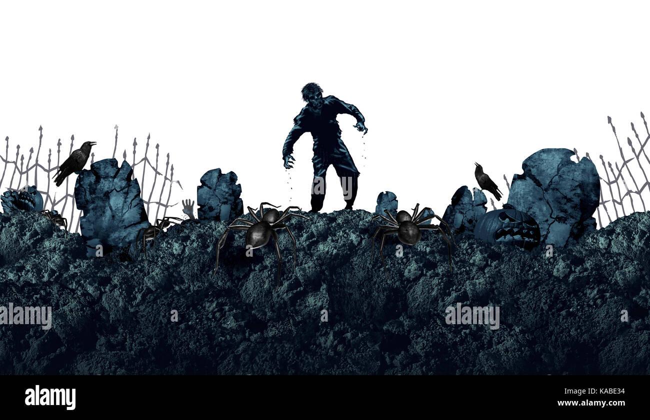 Tomba di halloween zombie come sfondo un inquietante mostro a piedi in un'area vuota per il testo come un morto Foto Stock