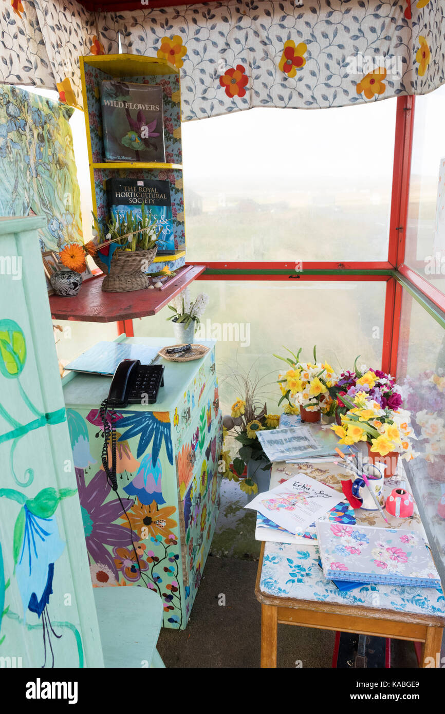Bobby's fermata bus - una insolita attrazione turistica in unst, isole Shetland, Scotland, Regno Unito Immagini Stock