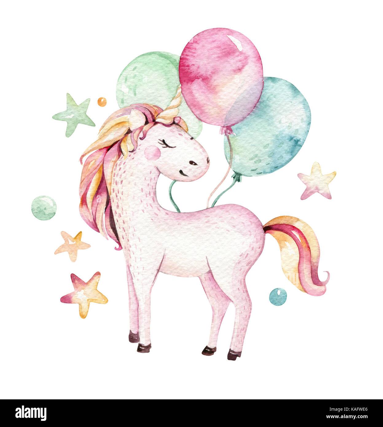 Isolato carino acquerello unicorn clipart vivaio unicorns