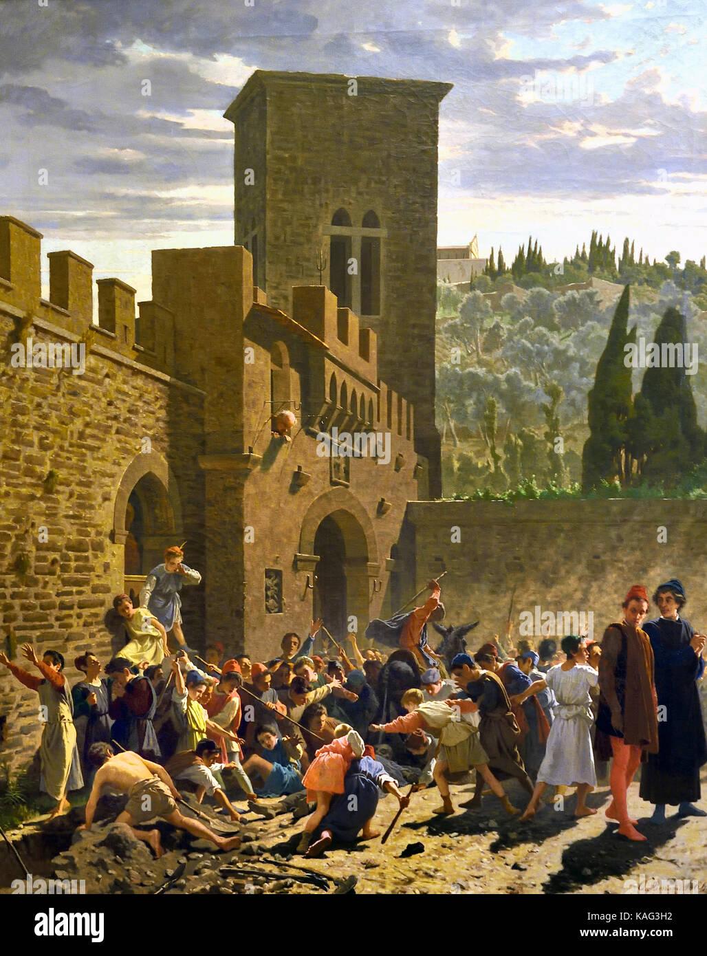 Ritrovamento del cadavere di Jacopo de Pazzi (Medioevo) - Alla scoperta del cadavere di Jacopo de Pazzi (Medioevo) Immagini Stock