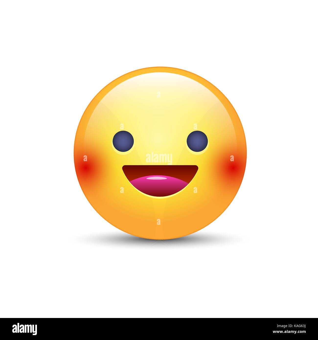 Giallo divertente cartone animato gli emoji faccia con il sorriso