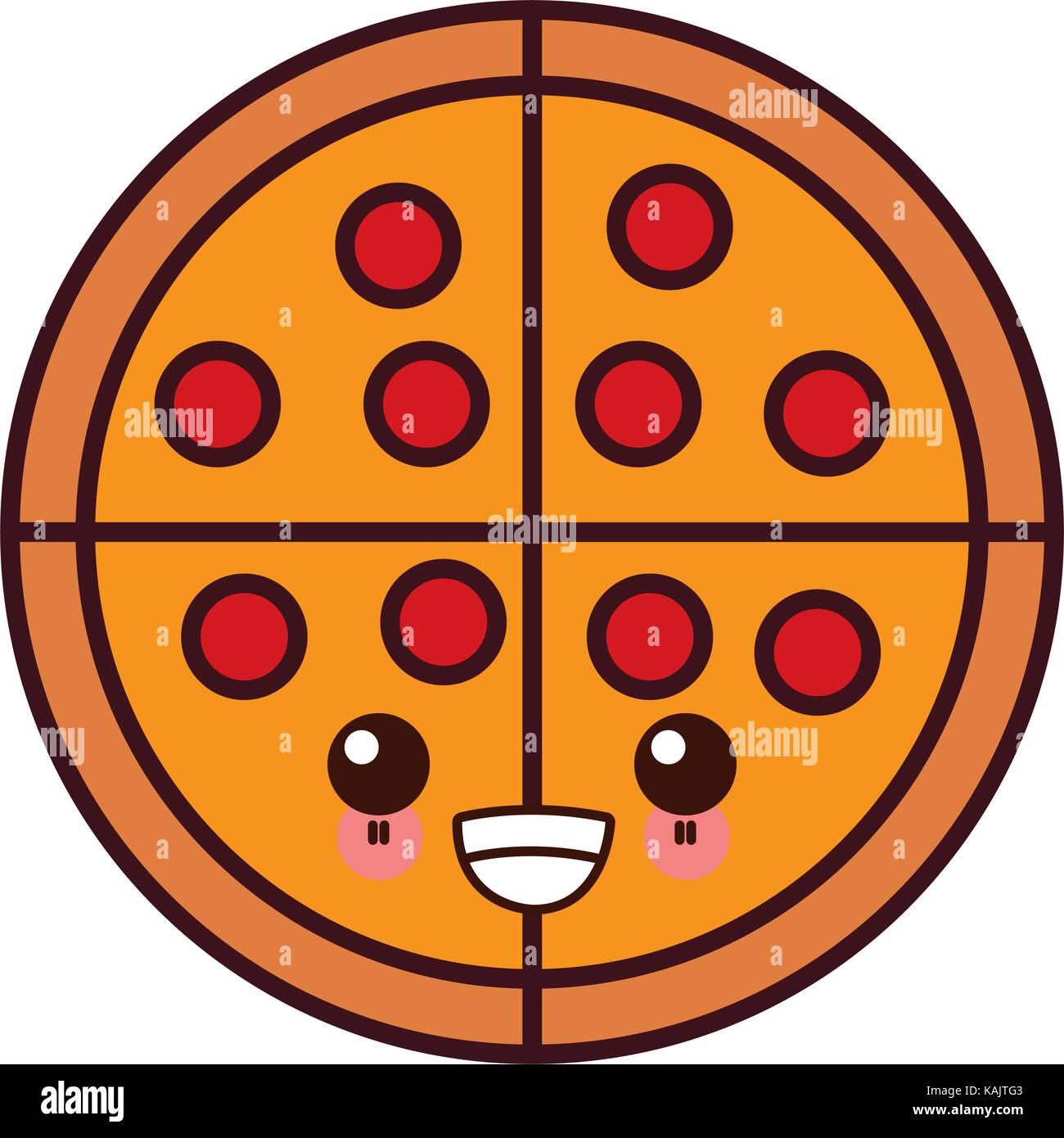 Grande Pizza Cibo Kawaii Cartoon Illustrazione Vettoriale 161454275