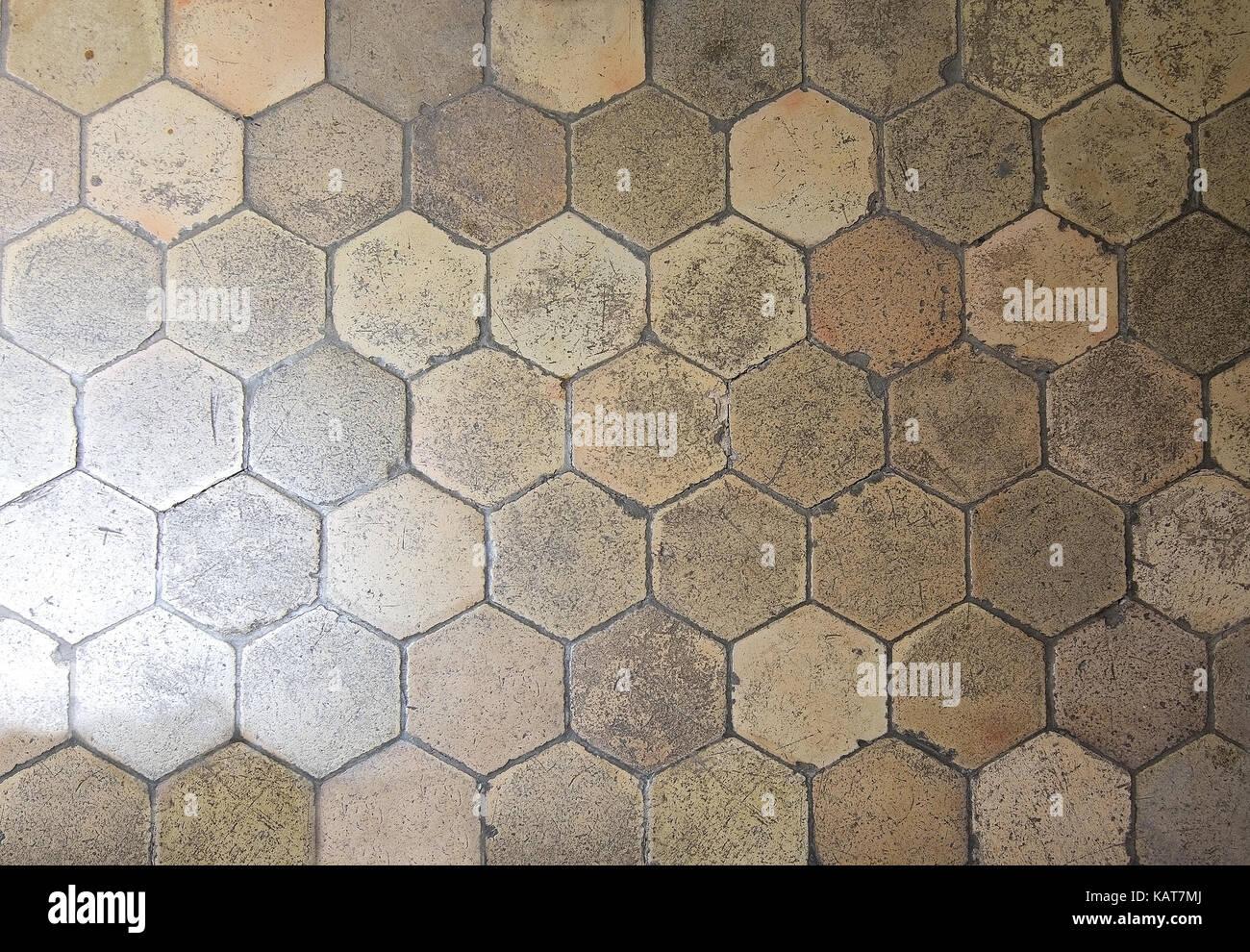 Esagonale a pavimento di piastrelle di texture di sfondo foto