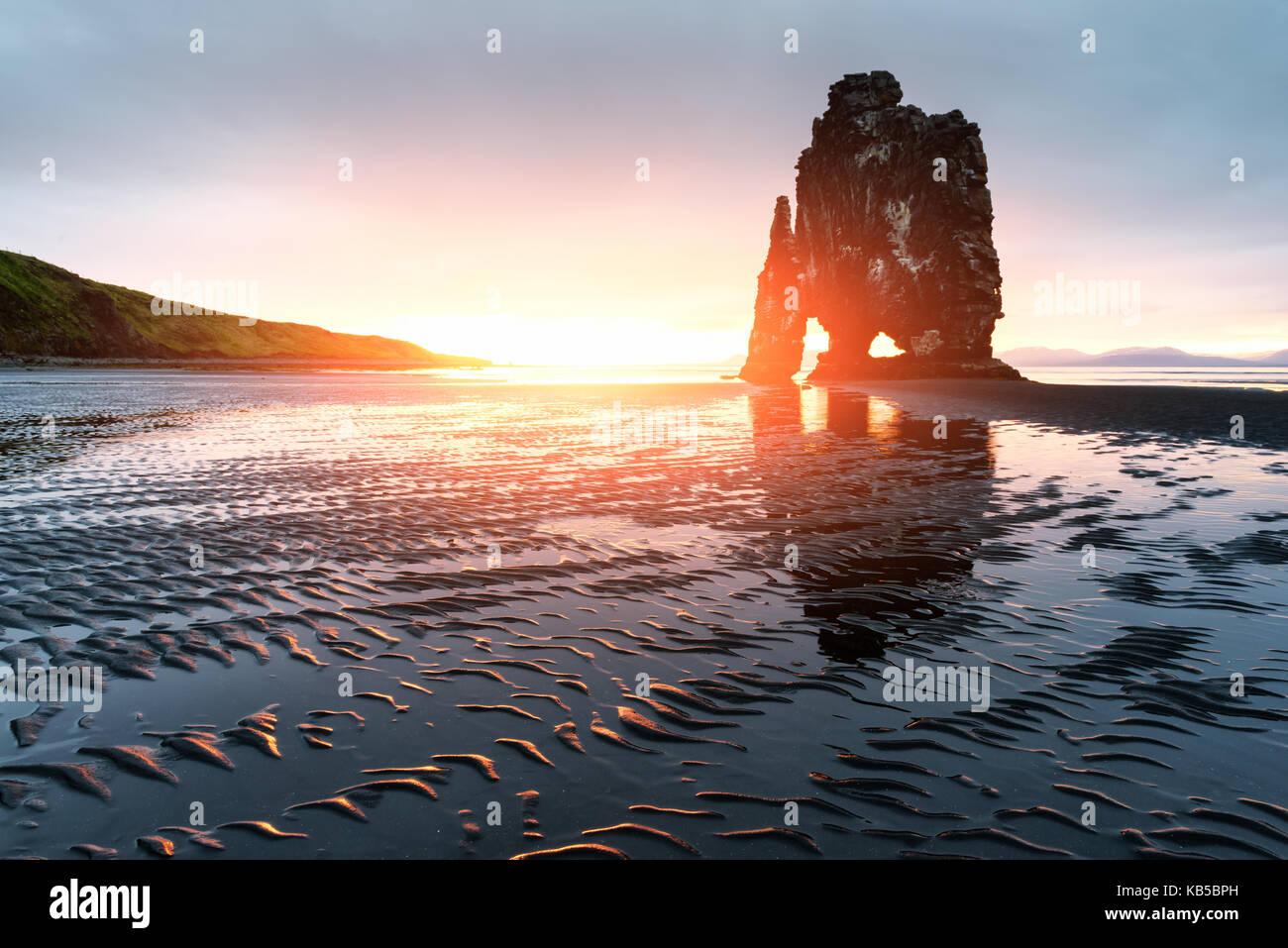 Basalto hvitserkur stack Immagini Stock