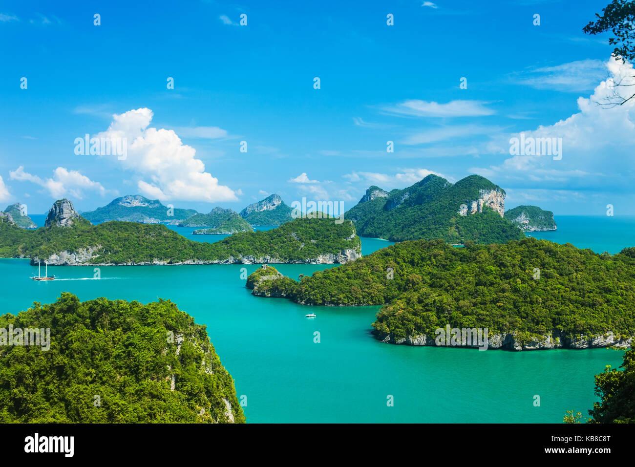 Tropical nel gruppo di isole Ang Thong National Marine Park, Thailandia. Vista superiore Immagini Stock