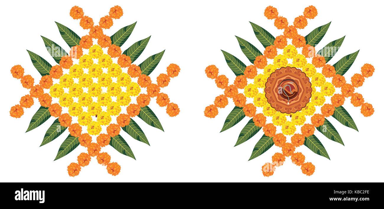 Vettore di stock flower rangoli di diwali o pongal o onam realizzati utilizzando calendula o zendu fiori rosso e Immagini Stock