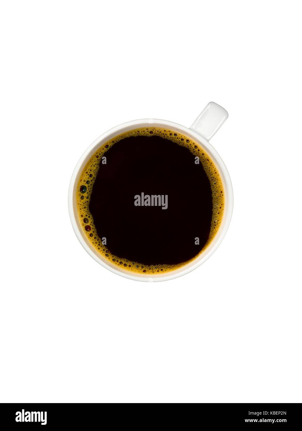 Un overhead shot di una tazza di caffè Immagini Stock
