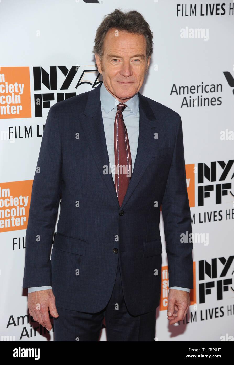New York, NY, Stati Uniti. 28th settembre 2017. Bryan Cranston partecipa al 55th New York Film Festival inaugurando Foto Stock