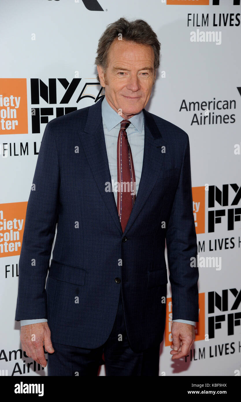 New York, NY, Stati Uniti. 28th settembre 2017. Bryan Cranston partecipa al 55th New York Film Festival inaugurando Foto Stock