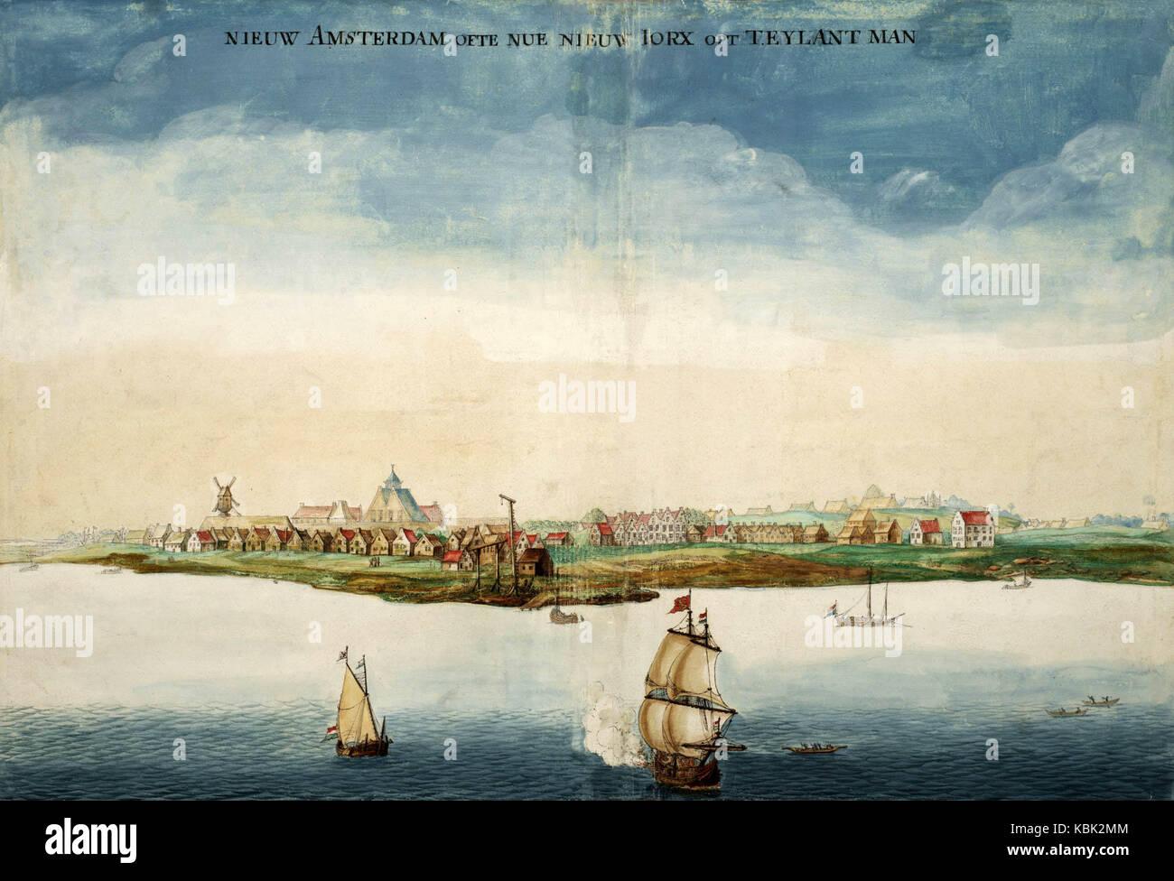 New Amsterdam, centrato nell'eventuale Lower Manhattan, nel 1664, anno in Inghilterra ha preso il controllo Immagini Stock