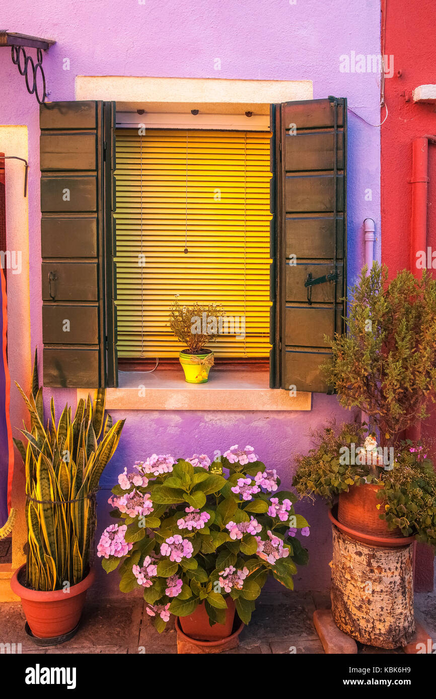 La finestra di visualizzazione a Burano, Italia Immagini Stock