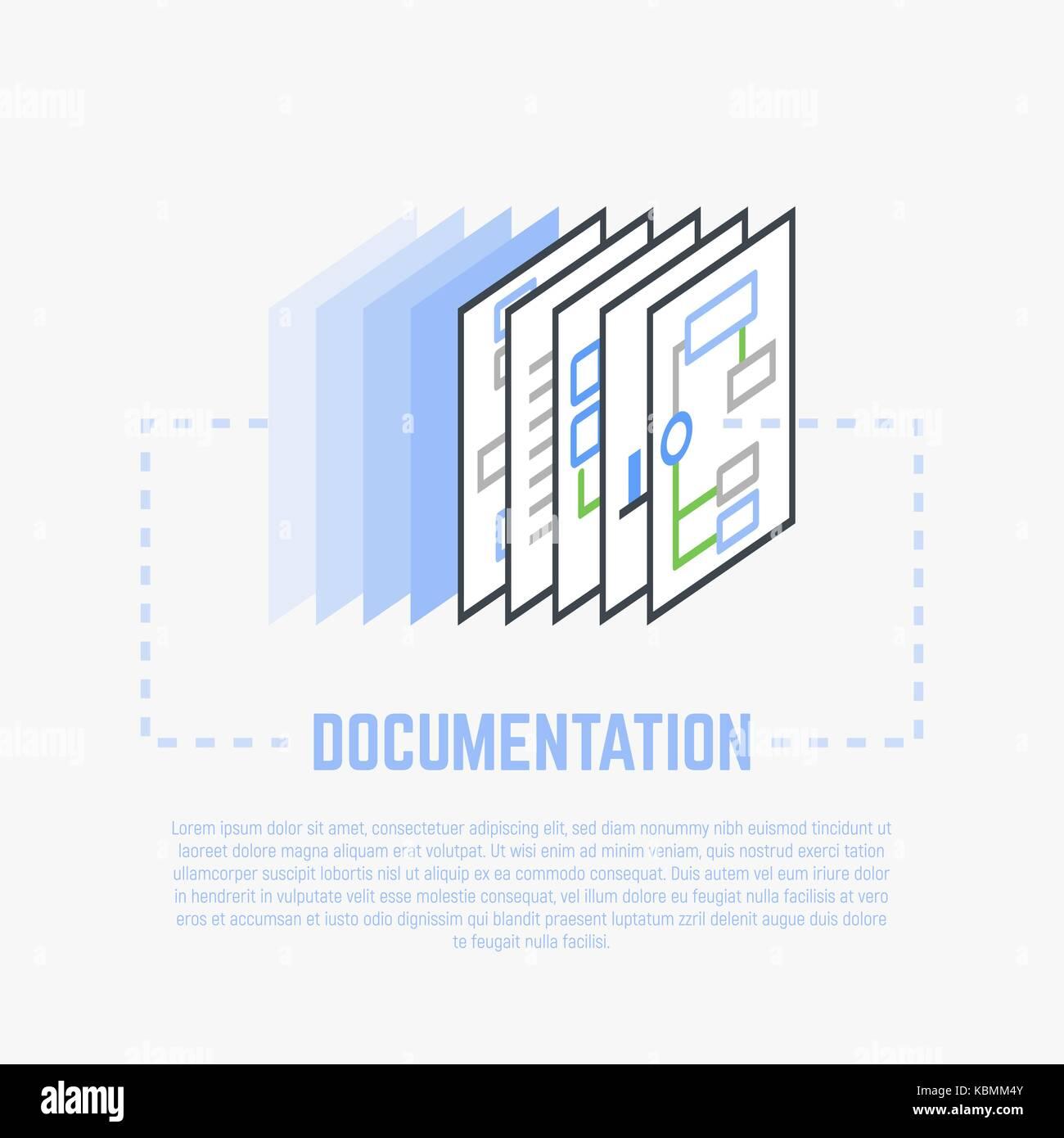 Processo di documentazione illustrazione di linea Illustrazione Vettoriale