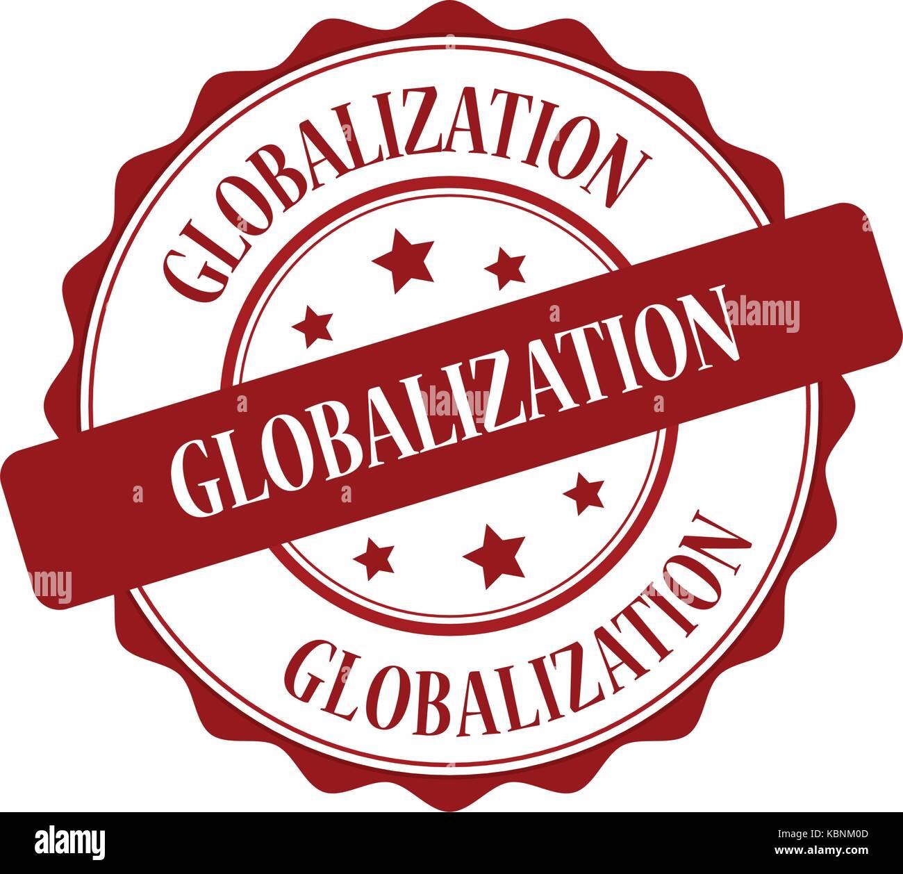 La globalizzazione francobollo rosso illustrazione Immagini Stock