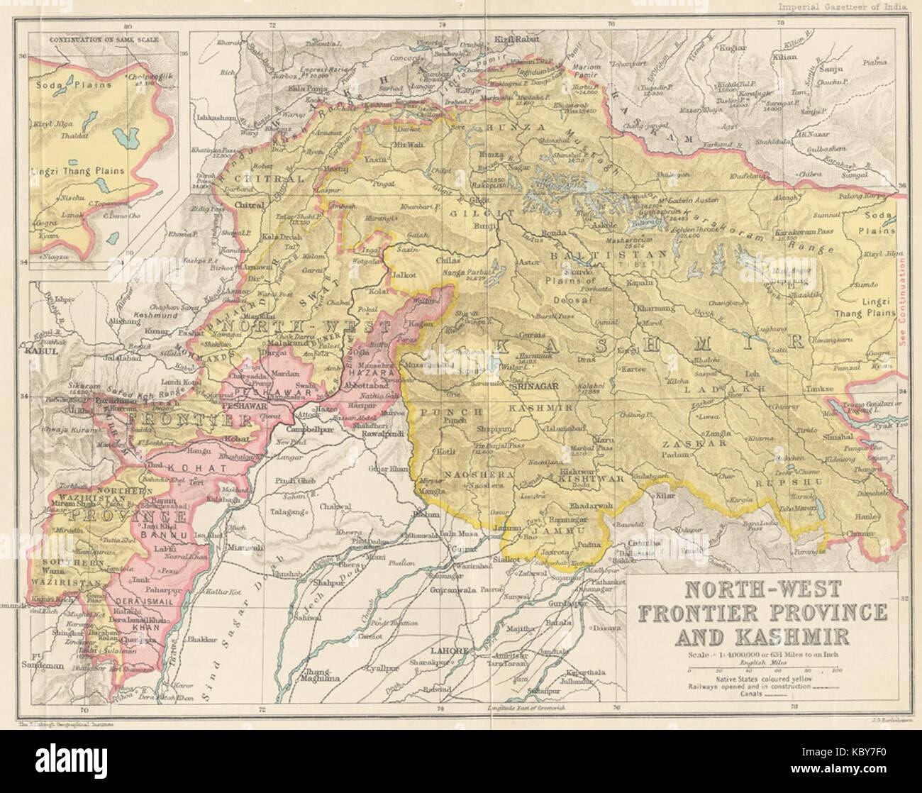 Cartina Dell India Del Nord.Mappa Della Provincia Di Frontiera Del Nord Ovest E Del Kashmir Dal Dizionario Geografico Imperiale Dell India 1907 1909 Foto Stock Alamy
