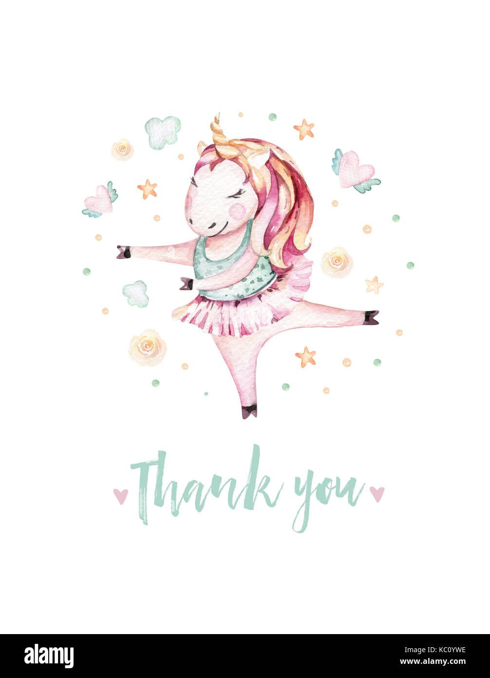 Isolato carino acquerello unicorn illustrazione. vivaio unicorns art. princess unicorns poster. miracolo alla moda Immagini Stock