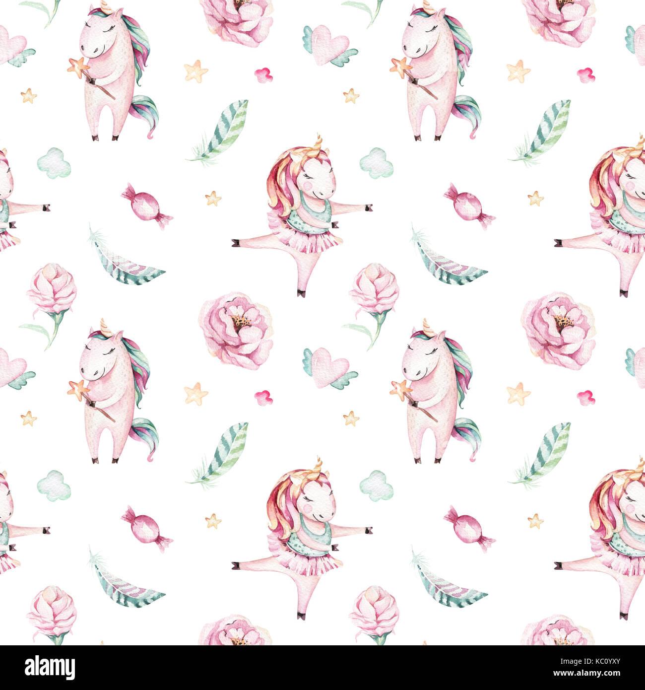 Isolato carino acquerello unicorn pattern. vivaio magic unicorns aquarelle. princess miracolo unicorns collezione. Immagini Stock
