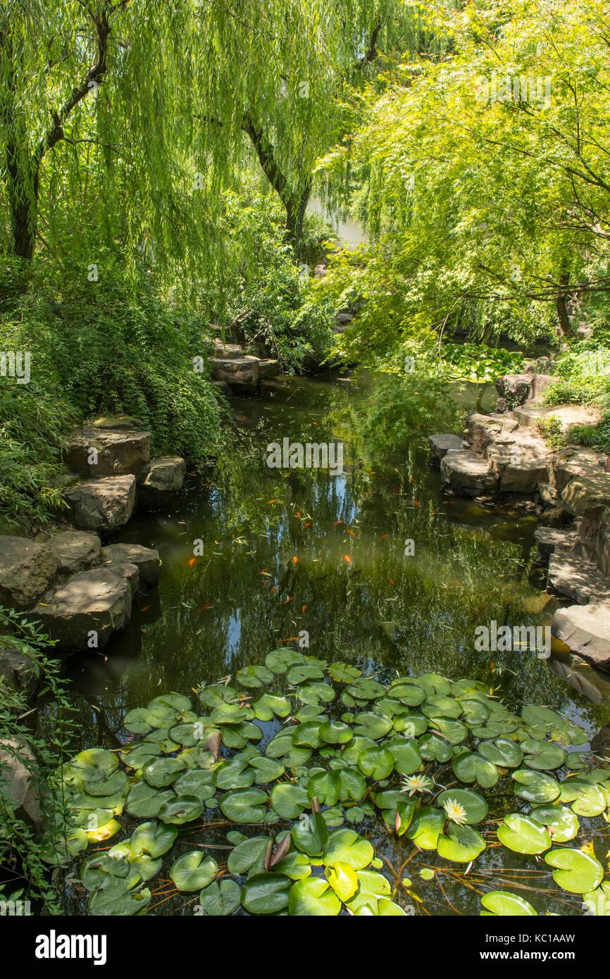 Il lago in umile administrator's garden, Suzhou, Cina Immagini Stock