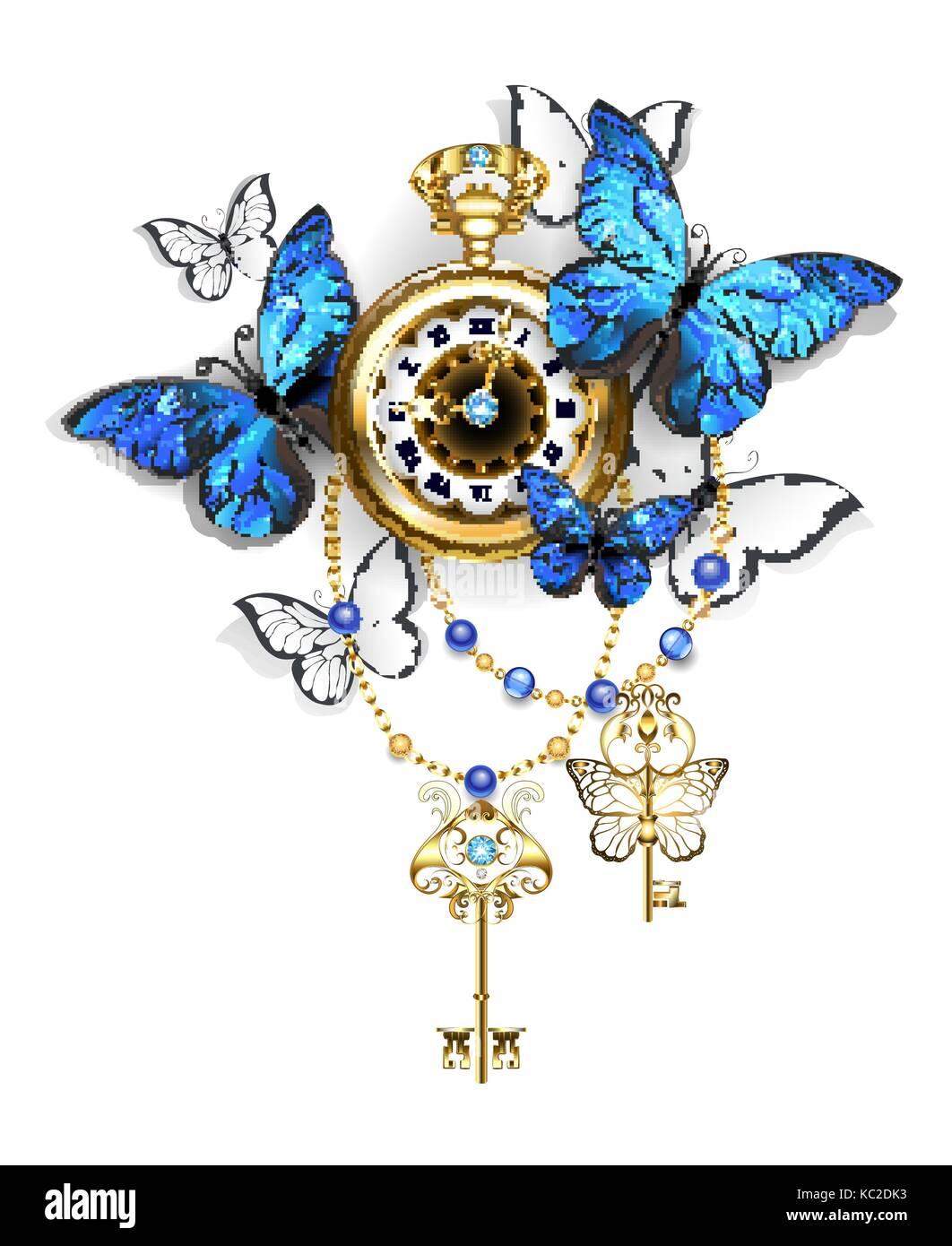 Oro Antico Orologio Con Blu E Bianco Farfalle Morpho E Chiavi Doro