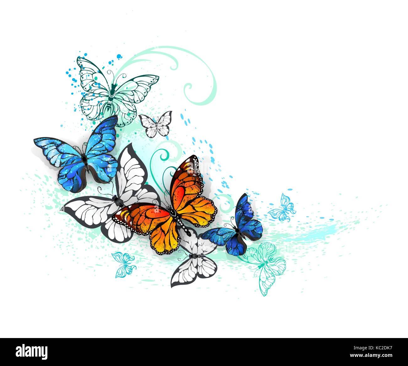 Farfalle Realistico Blu Morfo E Monarchi Arancione Su Sfondo Bianco
