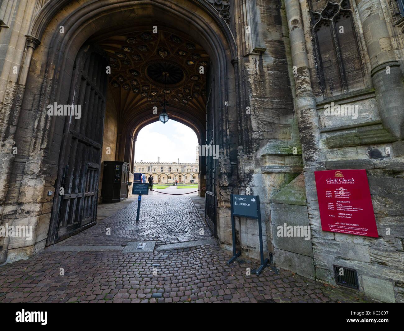 Ingresso alla Torre di tom, Christ Church College di Oxford University Oxford oxfordshire Foto Stock