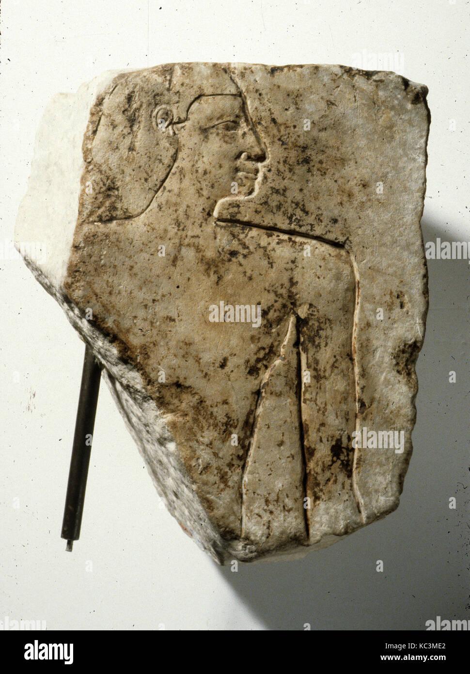 Frammento di rilievo di uomo di corpo superiore, ca. 1961-1917 A.C. Immagini Stock