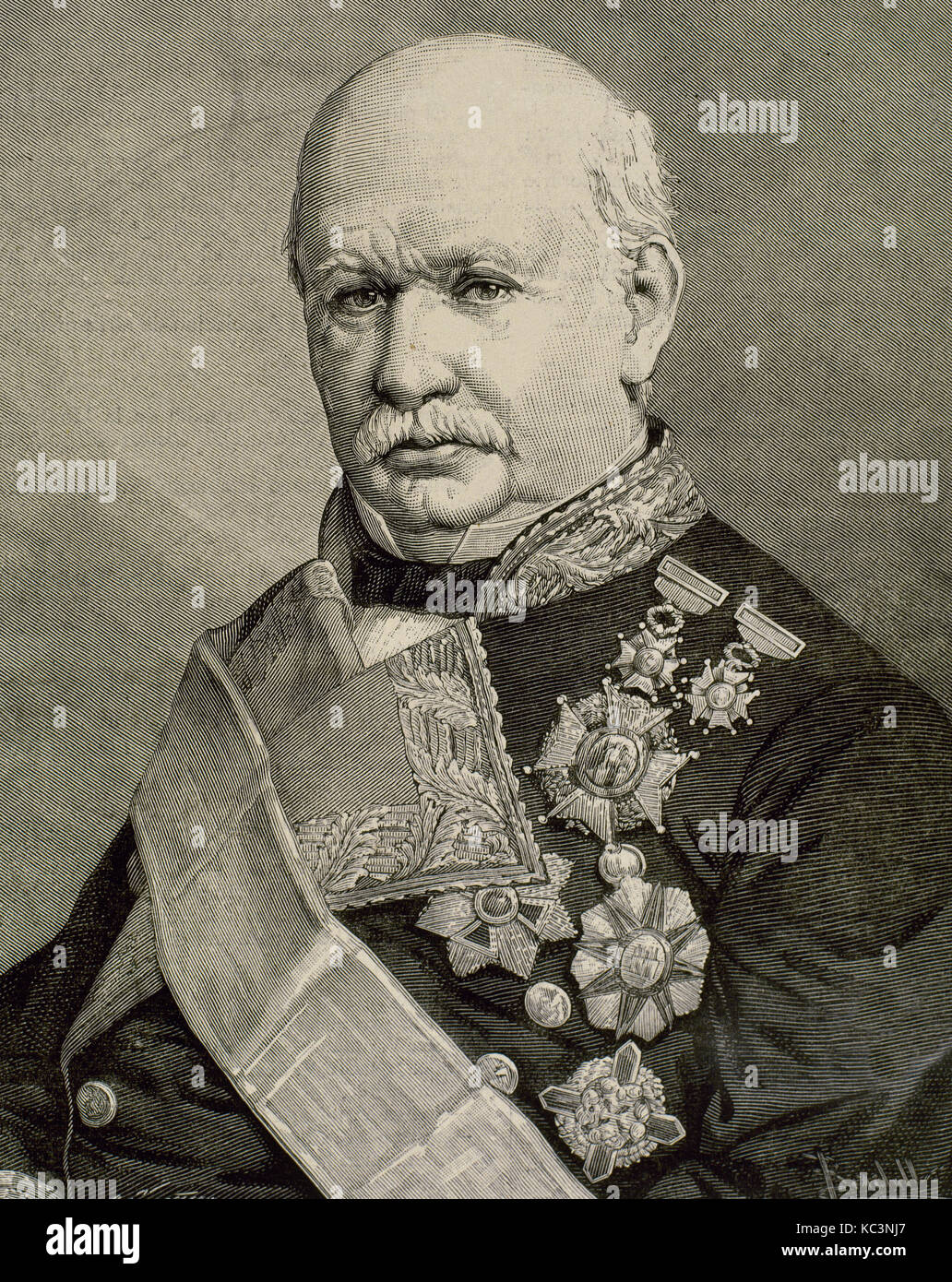 Don Fernando Fernández de Córdoba y valcárcel, 2a Marchese di mendigorría (1809-1883). esercito Immagini Stock