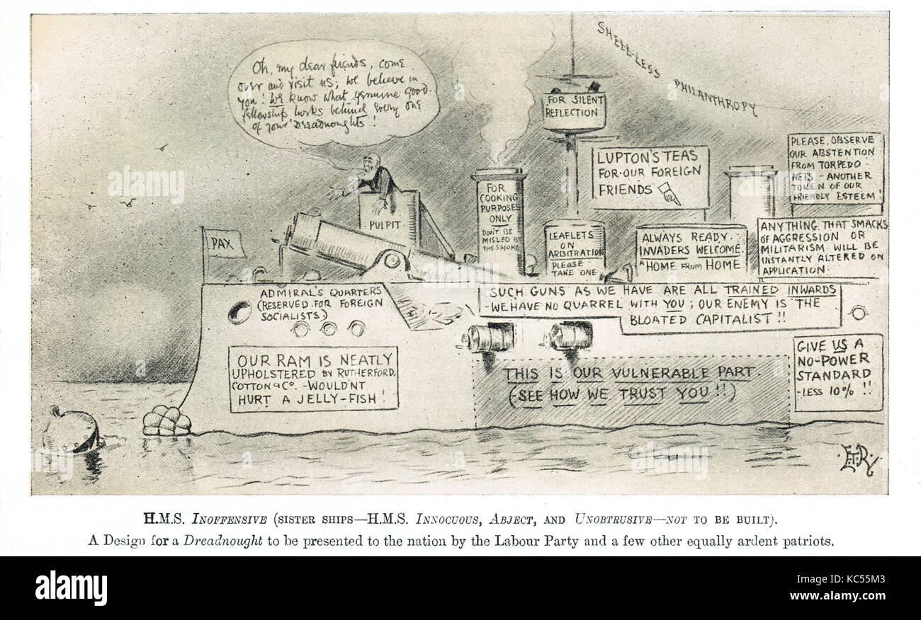 Punch cartoon parodia del partito laburista posizione su il dreadnought questione, 1909 Immagini Stock