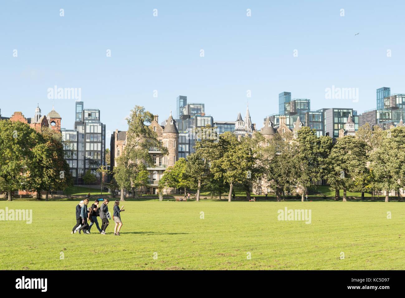 Edimburgo Alloggiamento di lusso - sviluppo Quartermile affacciato sul parco Prati, Edimburgo, Scozia, Regno Unito Immagini Stock
