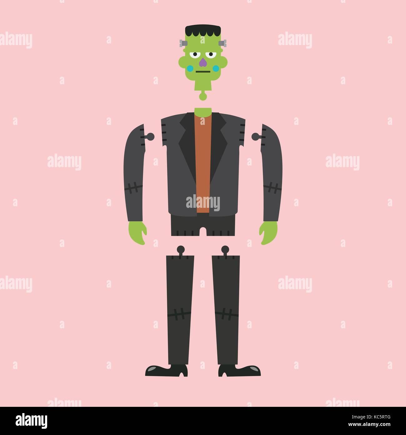 Cadavere di zombie verde. carattere halloween illustrazione
