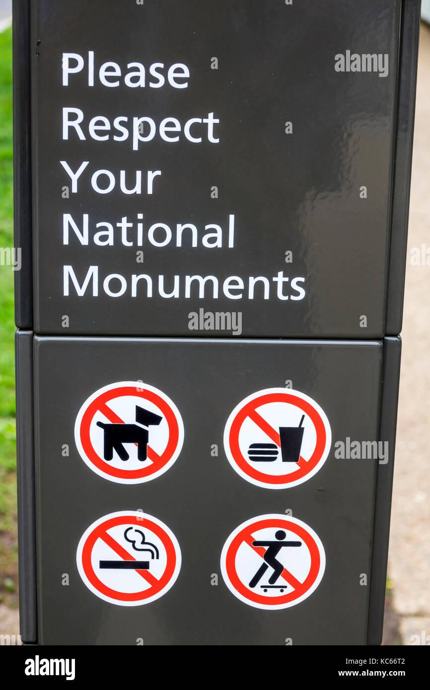 Washington DC, District of Columbia, National Mall, cartello, comportamento dei visitatori, animali domestici non Foto Stock