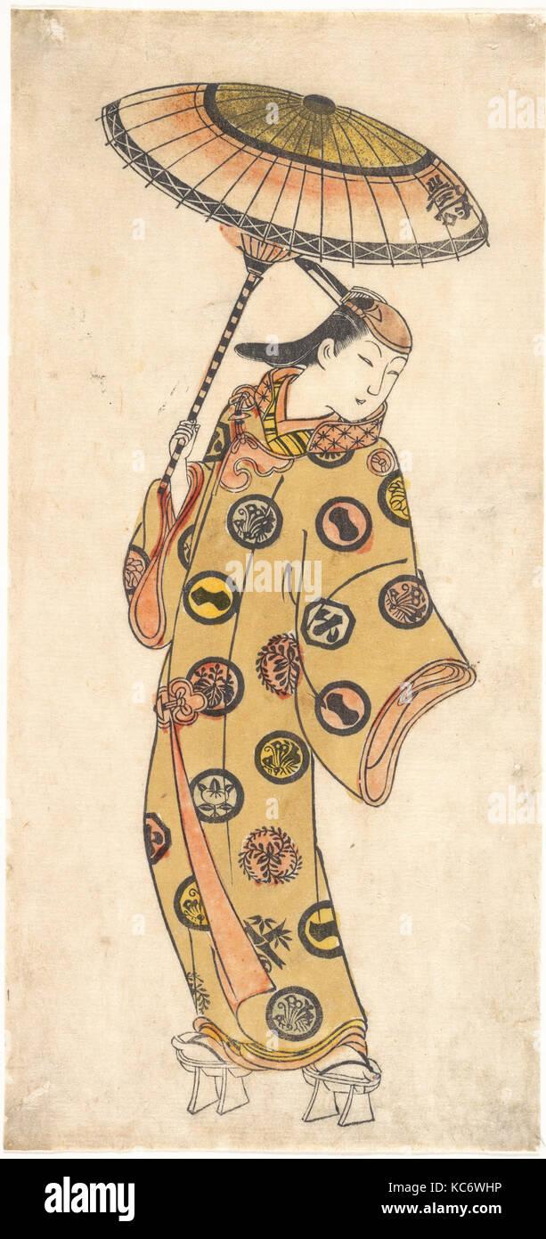 Un Dandy di più che discutibile la morale a passeggiare in un giorno di freddo attribuita a Ishikawa Toyonobu, Immagini Stock