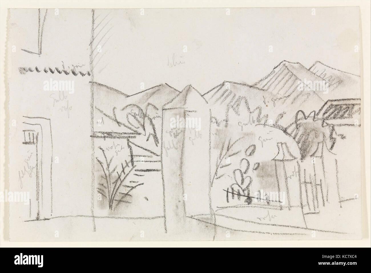 Vista tunisino, 1914, gesso su carta, 4 1/8 x 6 1/8 in. (10,5 x 15,6 cm), disegni, August Macke (tedesco, Meschede Immagini Stock