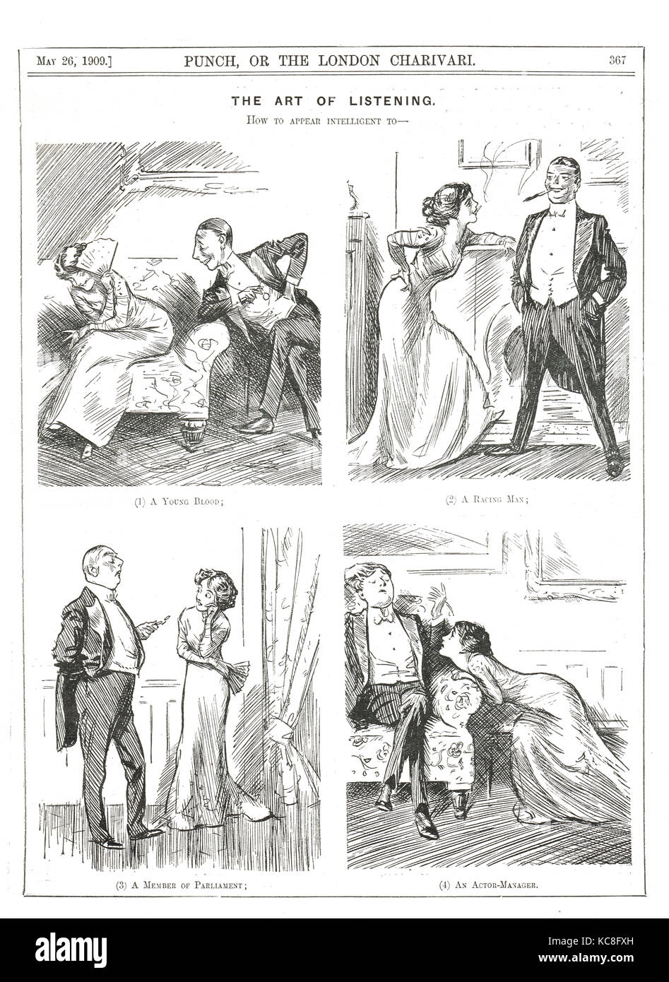 L'arte dell'ascolto, come appaiono intelligente per diversi uomini, punch cartoon, 1909 Immagini Stock