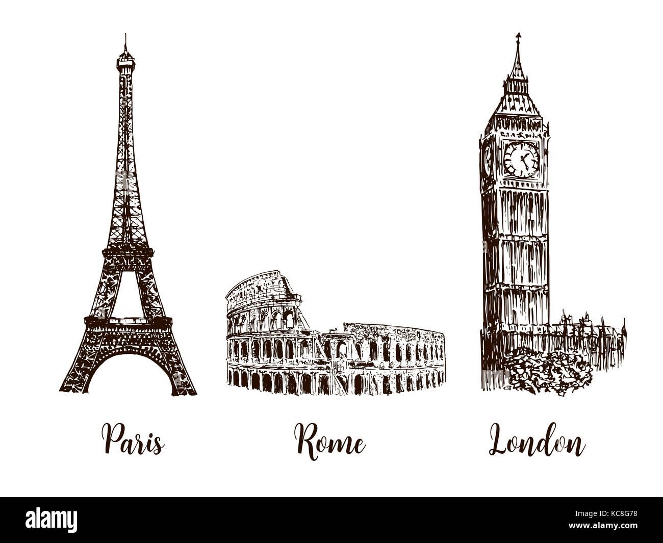 Parigi Londra Roma Set Di Capitali Europee Simboli Torre Eiffel