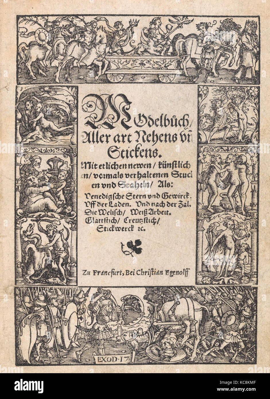 Disegni e stampe, libri stampe ornamento e architettura, Titel pagina dal Modelbuch aller Art Nehens vn Stickens Immagini Stock