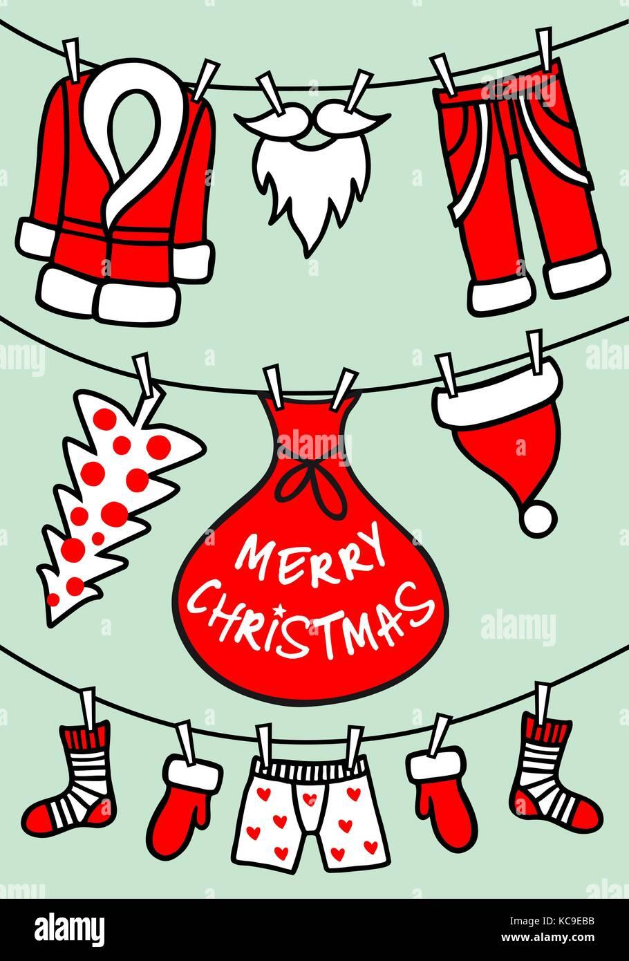 Scheda di Natale con Babbo Natale vestiti appesi stendibiancheria, set di vettore di elementi di design grafico Immagini Stock