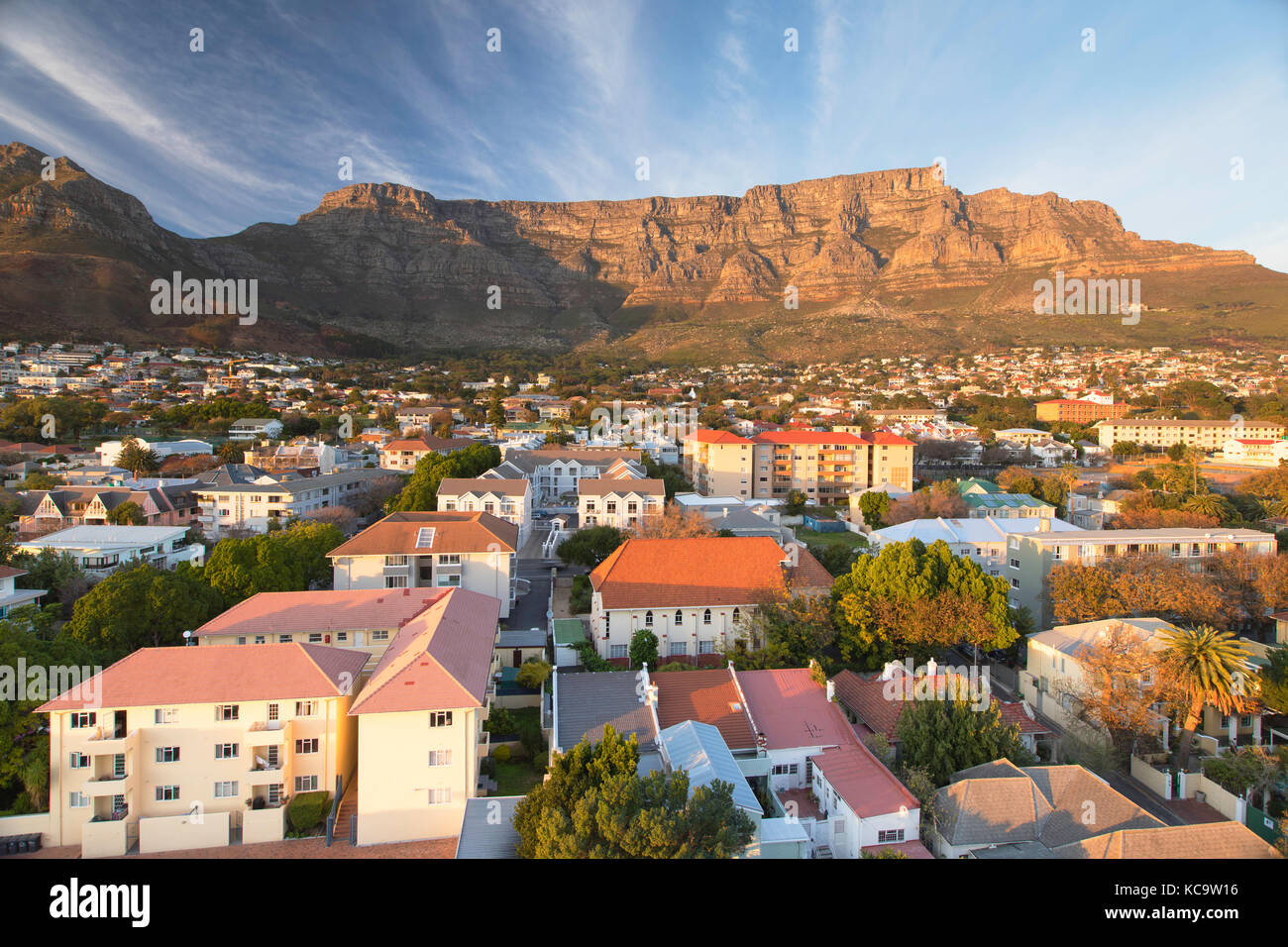 Vista della Table Mountain e Cape town, Western Cape, Sud Africa Immagini Stock