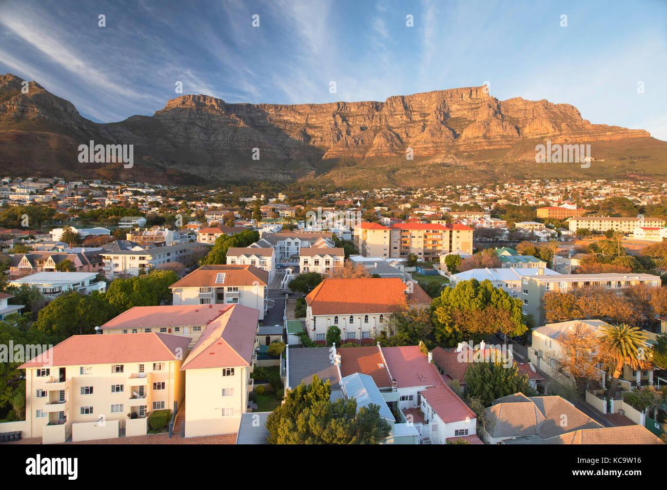 Vista della Table Mountain e Cape town, Western Cape, Sud Africa Foto Stock