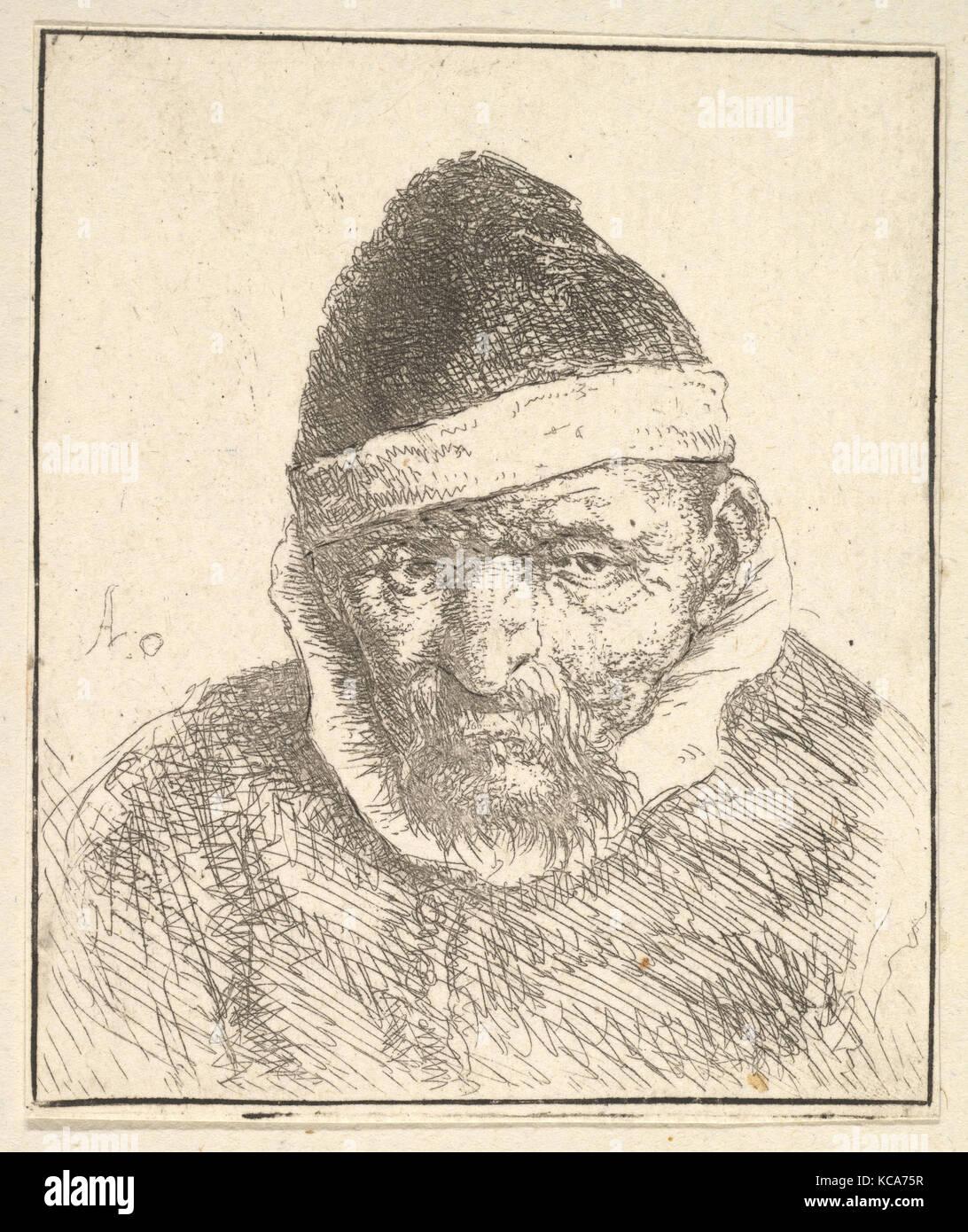 Il vecchio uomo con collare bianco e cappello appuntito, Adriaen van Ostade, 1610-85 Immagini Stock