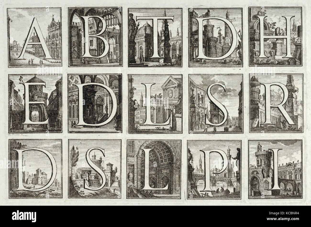 Disegni e stampe, stampa alfabeto Romano contro sfondi architettonico, da G. P. Zanotti Il Claustro di San Michele Immagini Stock