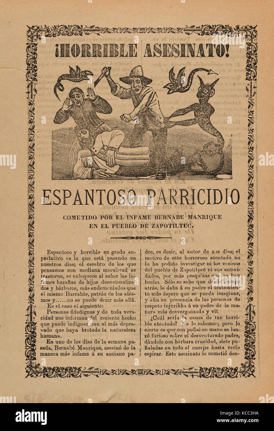 Broadsheet relative all'orribile assassinio commesso da Bernabe Manrique nella città di Zapotiltec, José Immagini Stock
