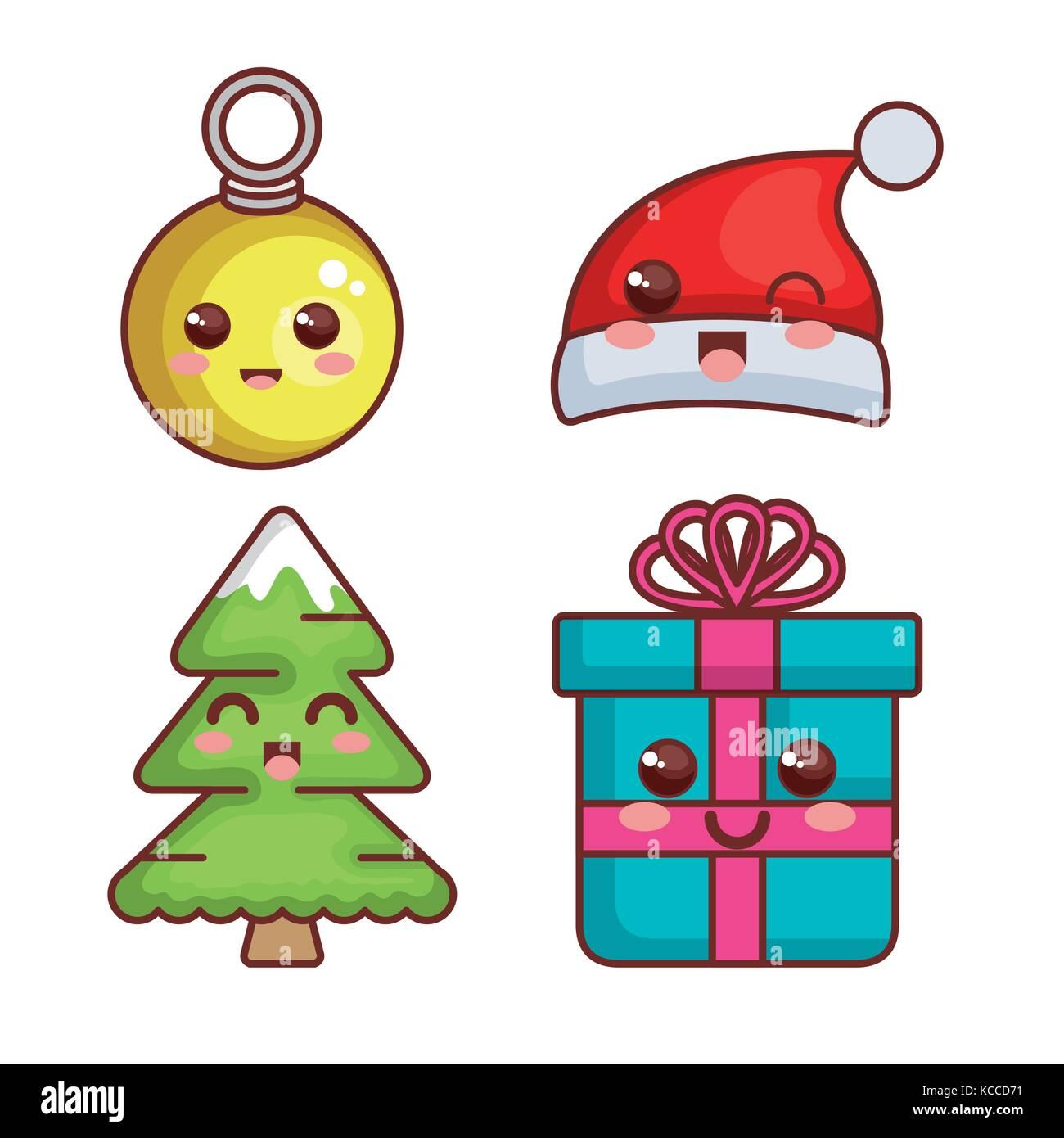 Disegni Di Natale Kawaii.Buon Natale Kawaii Caratteri Illustrazione Vettoriale Design